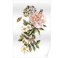 Watercolor vintage floral motifs Poster