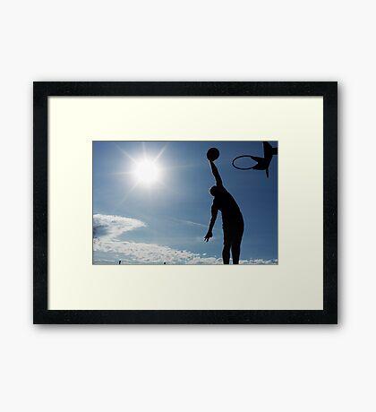 Basketball Silhouette Slam Dunk Framed Print