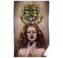 Abundance - Wine Goddess with Goblet and Green Man Poster