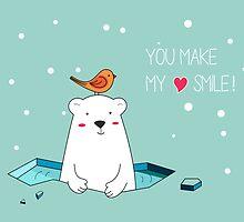 Cute Polar Bear and Bird  by mspinecone
