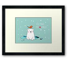Cute Polar Bear and Bird  Framed Print