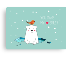 Cute Polar Bear and Bird  Canvas Print
