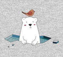 Cute Polar Bear and Bird  Baby Tee