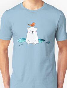 Cute Polar Bear and Bird  Unisex T-Shirt