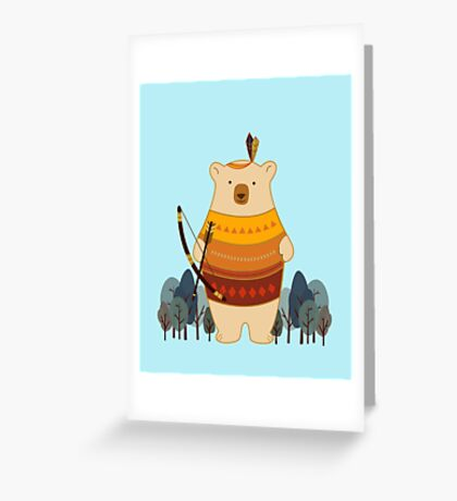 Brave Indian Bear Greeting Card