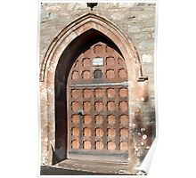 Arched medieval entrance to Hawkshead Church Poster