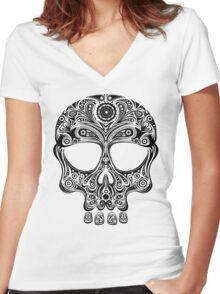 Skullsley - black Women's Fitted V-Neck T-Shirt