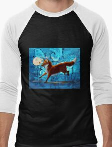 Fantasy Red Kitsune Fox Illustration Men's Baseball ¾ T-Shirt