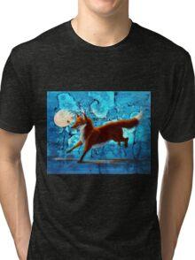 Fantasy Red Kitsune Fox Illustration Tri-blend T-Shirt