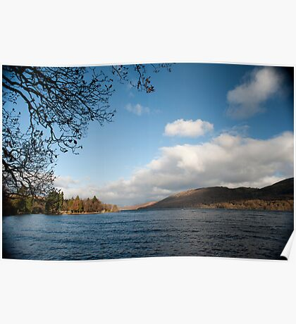 Scenic view of Consiton Water in the Lake District Poster