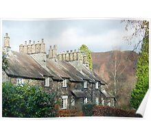Picturesque row of English stone cottages Poster