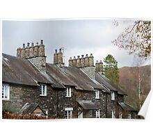 Typical English stone cottages at Skelwith Bridge Poster
