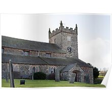 Graveyard and view of Hawkshead church Poster
