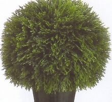 One 20 inch Artificial Cedar Topiary Ball Potted by silktreeware