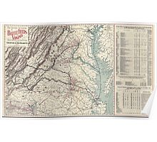 Civil War Maps 1074 Map showing the location of battle fields of Virginia compiled from official war records and maps for the Chesapeake Ohio Railway Co Poster