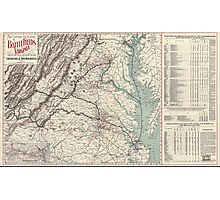 Civil War Maps 1074 Map showing the location of battle fields of Virginia compiled from official war records and maps for the Chesapeake Ohio Railway Co Photographic Print