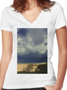 Ocean Storm Women's Fitted V-Neck T-Shirt