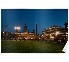 George Square in Glasgow at night Poster