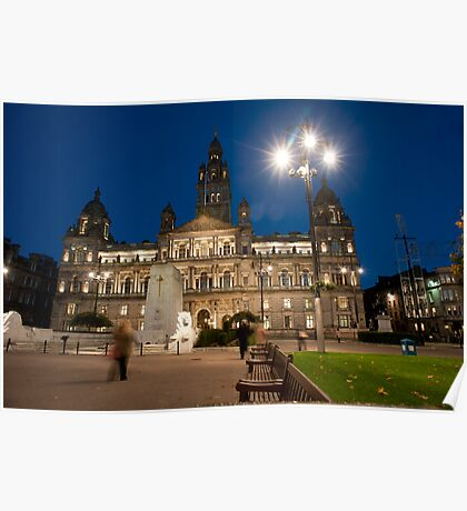 George Square, Glasgow at night Poster