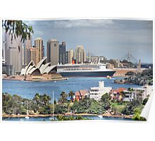Queen Mary II at Sydney harbour Poster