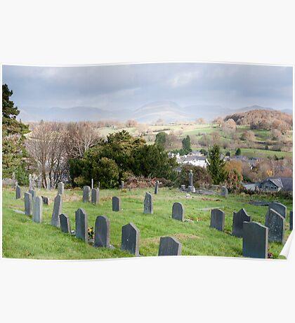 Gravestones in the churchyard at Hawkshead Poster