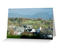 View over the rooftops of Hawkshead to Red Screes Greeting Card