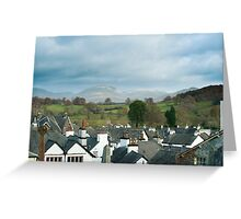 View over the rooftops of Hawkshead Greeting Card