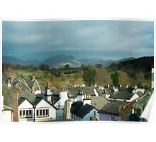 View over the rooftops of Hawkshead village Poster