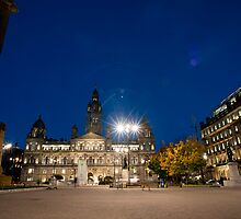 George Square, Glasgow night scene by photoeverywhere