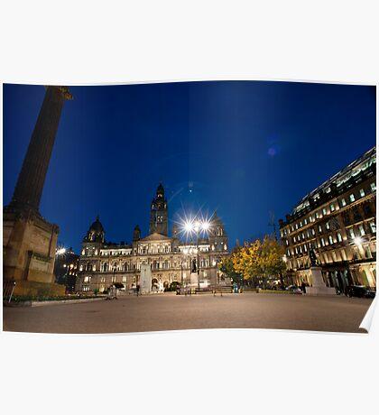 George Square, Glasgow night scene Poster