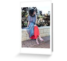 girl in new red dress sitting in a gray cloak Greeting Card