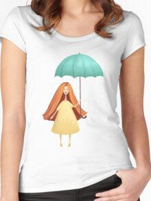 Girl jumping with umbrella Women's Fitted Scoop T-Shirt