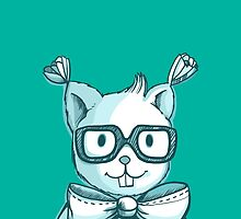 Funny hipster squirrel in glasses by olarty