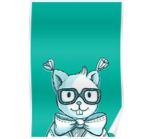 Funny hipster squirrel in glasses Poster