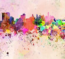 Philadelphia skyline in watercolor background by Pablo Romero