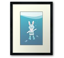 Cute white rabbit in the under water Framed Print