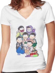 Six Same Faces - Osomatsu-san Women's Fitted V-Neck T-Shirt