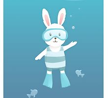 Cute white rabbit in the under water by olarty