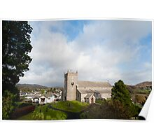 View between trees of Hawkshead Church Poster