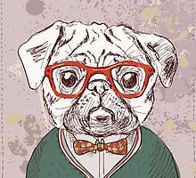 Hipster pug by iriskana