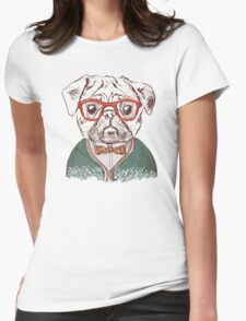 Hipster pug Womens Fitted T-Shirt