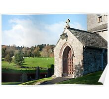 Stone entrance to Hawkshead church Poster