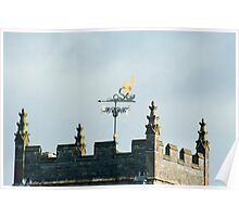 Weathervane on Hawkshead Church clock tower Poster