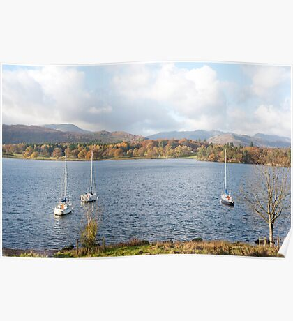 Yachts in Windermere Lake in the Lake District Poster