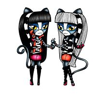 Monster High Chibi Purrsephone & Meowlody by MokaMizore97