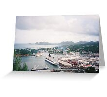 Aerial View of Cruise Ships, Caribbean Port and Harbor Greeting Card