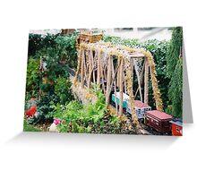Model Bridge, Model Trains, Model Buildings, New York Botanical Garden Train Show, Bronx, New York Greeting Card
