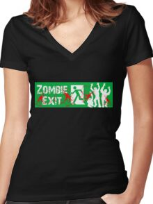 ZOMBIE EXIT SIGN by Zombie Ghetto Women's Fitted V-Neck T-Shirt