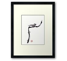 LITTLE FRIEND - Sumie ink brush pen painting of a bird Framed Print