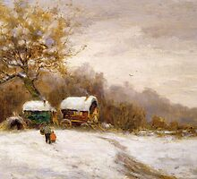 Gypsy Caravans in the Snow by Bridgeman Art Library